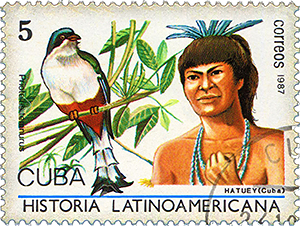 1987 Cuban stamp celebrates the tocororo and commemorates island the contributions and heritage of indigenous people.